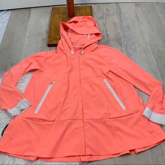lululemon athletica Jackets & Blazers - Lululemon Coral Zip Front Hood Peplum Jacket G3261